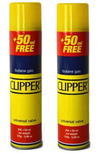 2 X Clipper Universal High Quality Butane Gas Lighter Refill Fluid Fuel 300ML