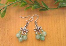 Green AVENTURINE Gemstone On Chinese Lucky Knot Drop Dangle Earrings ~ Feng Shui