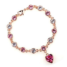 GORGEOUS 18K GOLD PLATED & GENUINE PINK & CLEAR CUBIC ZIRCONIA HEART BRACELET