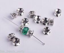 50pcs 7X4mm Metal Tibetan Loose Bracelet Spacer Beads Jewelry Making Anti-silver