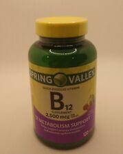 Spring Valley Vitamin B12 Tablets 2500 mcg 120 Ct Cherry Flavor EXP 04/22
