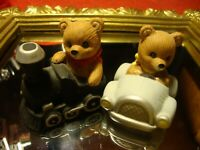 Lot (2) Vintage Homco #1463 Home Interior Bears Transport~Train~Car Gift!     R6