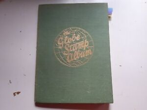 OLD GLOBE STAMP ALBUM :  WORLD COLLECTION - 950 USED STAMPS.