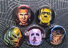 "Monster buttons, Lot of 5-1.25"" Halloween button, Horror, Monster Pins, Badge"