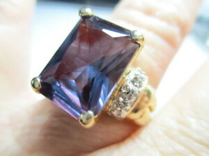 STERLING SILVER 925 ROSS SIMONS VERMEIL PURPLE TOPAZ DIAMOND ACCENTS RING SIZE 8