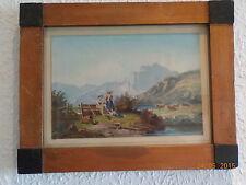 Bild gerahmt Lind Eduard 1827 Marburg Romantische Gebirgslandschaft mit Figuren