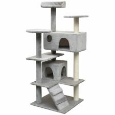 vidaXL Cat Tree with Sisal Scratching Posts 125cm Grey Kitty Play House Tower