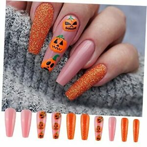 24 PCS Halloween Press on Nails Long Coffin with Pink & Orange Pumpkin Nails