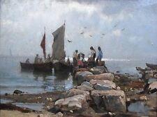 PITTURA FLORA marittima BAMBOLA paese pescatori art print poster lf739