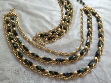necklace and earrings from the 70s Trifari Confetti Art Glass 5 strand matching