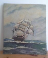 Antique oil painting of Ship on board, antique, painting, ship painting, Freeman