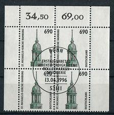 Bund 1860 Eckrand Viererblock gestempelt Vollstempel Bonn LUXUS ETST VB
