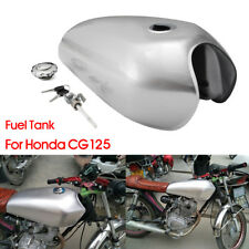 Silver Motorcycle 9L 2.4 Gal Fuel Gas Tank Cap Kit For Honda CG125 Cafe Racer US