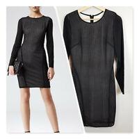 [ REISS ] Womens Chloe Bodycon Sheer Sleeves Dress RRP$400 | Size AU 10 or US 6