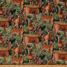 Cradle Rock Deer Nature Hunting Animals Cotton Fabric Print by Yard D479.11