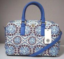 Tory Burch Robinson Printed Bahama Blue Middy Satchel Shoulder Bag