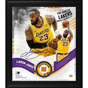 """LEBRON JAMES LA Lakers Framed 15"""" x 17"""" Game Used Basketball Collage LE 50"""