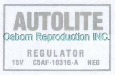 Mustang Voltage Regulator ECD Decal without A/C 1965 - 1966