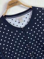 BANANA REPUBLIC Women's Cardigan Sweater Black w. Polka Dots Size Medium