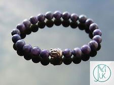 Buddha Purple Scenery Jasper Natural Gemstone Bracelet 7-8'' Elasticated Healing