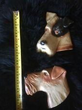 More details for vintage pair of fox terrier wall plaques