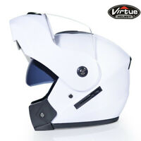 DOT Modular Flip Up Motorcycle Helmet Full Face Dual Visor Motocross Race White