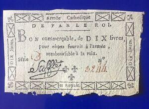 Armée Catholique et  Royale STOFFLET Bon de 10 Livres LAF274 RARE