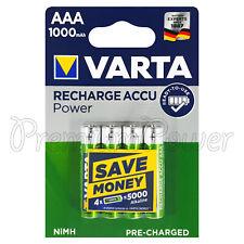 4X VARTA AAA 1000mAh Baterías Recargable NI-MH 1.2V HR03 Micro Accu Potencia