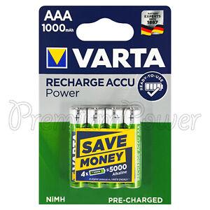 4 x Varta AAA 1000mAh batteries Rechargeable Ni-MH 1.2V HR03 Micro Accu Power