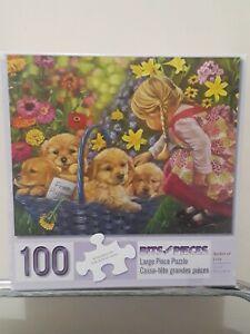 "Bits & Pieces 100 Pc Tricia Matthews Puzzle ""Basket of Love"" Large Format 15""x19"