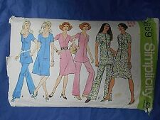 """Vintage Simplicity 9859 sewing pattern 1970s dress/tunic trousers bust 38"""""""