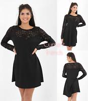 1025 Womens Black Long Sleeve Lace Swing Dress Plus Sizes 16 18 20 22 24