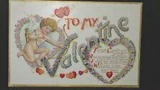 To My Valentine Though Cupids Aim Is True Vintage Post Card Cupid Unused 208
