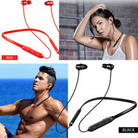 Magnetic Suction Wireless Bluetooth Headset Necklace Stereo Headphone Earphone