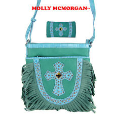 TURQUOISE STUDDED RHINESTONE CROSS LOOK MESSENGER BAG WITH TRIFOLD BLING WALLET