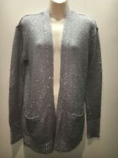 Halogen Grey Long Sleeve Knit Cardigan Jacket with Sequins Size M Fit 12 14 16
