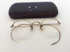 Vintage UOC Gold Ornate 1/10 12k GF Semi Rimless Eyeglasses Spectacles Hard Case