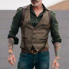 Retro Tweed Mens Belt Plaid Vests Casual Business Sleeveless Waistcoat Groomsmen