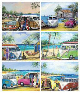 6 PLACEMATS + 6 COASTERS - AUSTRALIA,CORK - VW KOMBIS,BEACH,SURF,OCEAN,PANEL VAN