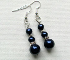 Navy Blue Pearl & Crystal Rondell Dangle PIERCED Earrings Jellybean