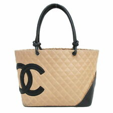 CHANEL Cambon Line Large Black Beige Lambskin Leather Tote Hand Bag Used