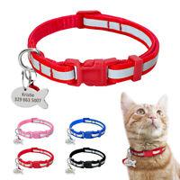 Reflective Personalised Pet Dog Cat Nylon Collar Customised Engraved for Free