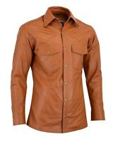 Men's Soft Tan Leather Slim Fit Full Sleeve Button up