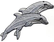 DOLPHINS, DOUBLE - SEA CREATURES - OCEAN - BEACH -  Iron On Embroidered Patch
