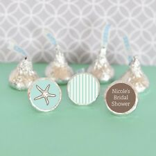 108 Personalized Beach Ocean Themed Hershey's Kisses Labels Wedding Favors
