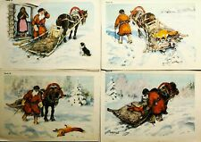 1950s Russian Children Illustration Fairy Tale Sly Fox Posters Set 4 pcs