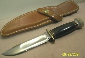 """1930's~MARBLE'S~5"""" IDEAL ~STAG POMMEL HUNTING & FIGHTING KNIFE w/LEATHER SHEATH~"""