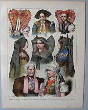 Trachten, Europa, Accessoires, Mützen u. Hauben - Lithographie Kretschmer 1871