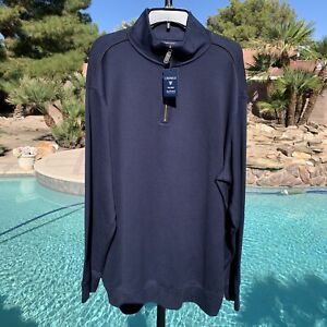 NWT $110 DANIEL CREMIEUX  2XT PULLOVER 1/4 ZIP MENS NAVY SUPIMA COTTON SWEATER