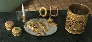 Dollhouse Jeweled Vanity Set Brush, Mirror, Tray, Trash,...1920's Ormolu Look